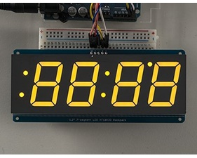 Adafruit 1.2 4-Digit 7-Segment Display w/I2C Backpack - Yellow