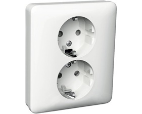 Schneider Exxact Wall Socket 2-Way Grounded White (STANDARD)