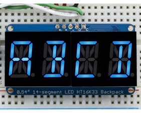 Quad Alphanumeric Display - Blue 0.54 Digits w/ I2C Backpack