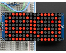 16x8 1.2 LED Matrix + Backpack - Ultra Bright Round Red LEDs