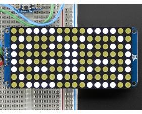 16x8 1.2 LED Matrix + Backpack - Ultra Bright Round White LEDs