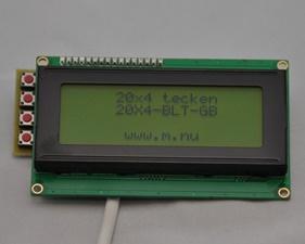 HD44780 20X4 Character LCD Display - Svart text Grön bakgrundsbelysning