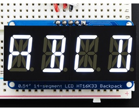 Quad Alphanumeric Display - White 0.54 Digits w/ I2C Backpack
