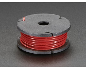 Solid-Core Wire Spool - 22AWG - Red - 25 ft (7,5m)