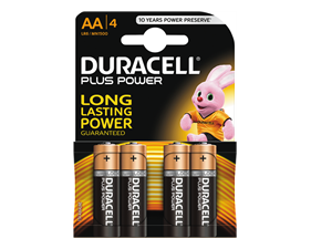 Duracell Plus Power alkaliska batterier, AA (LR06), 1,5V, 4-pack