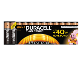 Duracell Plus Power alkaliska batterier, AA (LR06), 1,5V, 24-pack