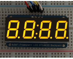 Adafruit 0.56 4-Digit 7-Segment Display w/I2C Backpack - Yellow