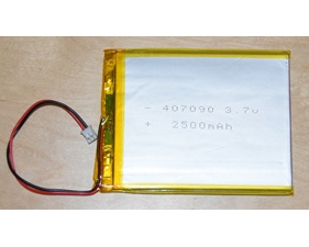 Lithium Ion Polymer Battery - 3.7v 2500mAh (low profile)