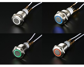 Weatherproof Metal Pushbutton with LED Ring - 16mm Momentary