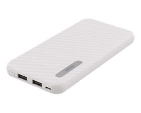 DELTACO Power Bank, portabelt batteri, 10000mAh, 2,1A, 37Wh, vit