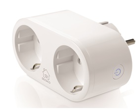 DELTACO SMART HOME power switch, WiFi 2.4GHz, energy monitoring, 2xCEE 7/3, 10A, timer, white