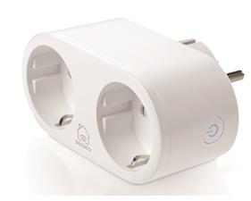 DELTACO SMART HOME strömbrytare, WiFi 2,4GHz, energiövervakning, 2xCEE 7/3, 10A, timer, vit