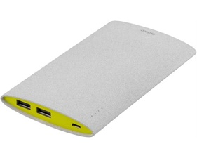 Powerbank, slim, 6000mAh, 2x USB Typ A hona, 2,1A, grå