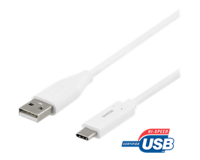 USB-C to USB-A kabel, 1m, 3A, USB 2.0, white