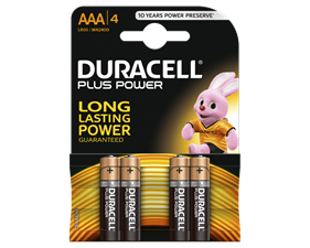 Duracell Plus Power alkaliska batterier, AAA (LR03), 1,5V, 4-pack