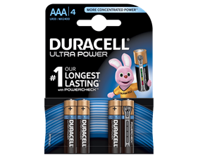 Duracell Ultra Power alkaliska batterier, AAA (LR03), 1,5V, 4-pack
