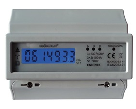 Electricity meter 3-phase with LCD display and pulse output