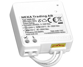 Dimmer fast installation för montering bakom väggbrytare - LED/halogen/glödljus - Nexa WMR-252