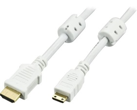 HDMI-kabel, HDMI Type A ha - HDMI Mini ha, vit, 1m