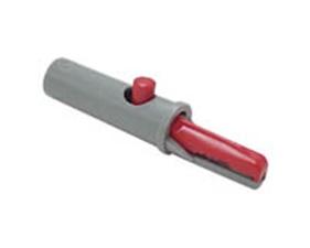 Isolerad krokodilklämma för anslutning till banankontakt 4mm, 60V/6A, röd