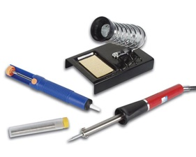Start Kit Soldering with Soldering Iron 25W, tray stand, desoldering pump and solder