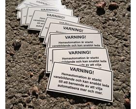 Klistermärke Varning Hemautomation 1 st