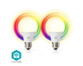 Smart LED-Lampa Fullfärg och varmvit E27 - 6W - 470 lumen - 2-pack