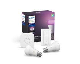 Hue White and Color Ambiance 2 Bulb 9W A60 E27 + Hue Dim Switch+ Bridge starter kit