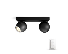 Philips Hue Buckram Svart 2x5,5W - Med Hue Dim Switch