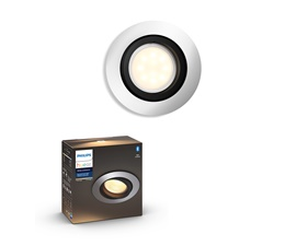 Hue Milliskin recessed spot 1x5,5W - round aluminum colored frame