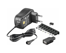 Power supply 3-12V DC 1A, Replaceable Connectors, USB