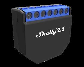 Shelly 2.5 WiFi - tvåkanalig fjärrströmbrytare med energimätning  för inbyggnad