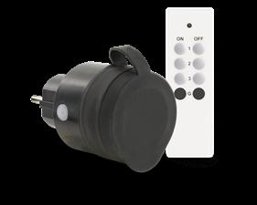 Fjärrstyrt uttag Slim 433Mhz Utomhus IP44 inkl. fjärrkontroll