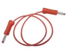 Labbsladd 100cm med 4mm kontakter med fjäderbelastat skyddshölje, 250V/10A, röd