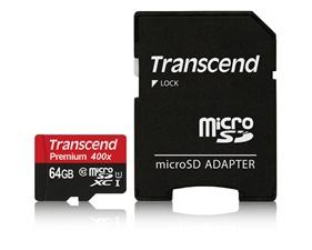 MicroSDHC Transcend, 64GB, Class 10 UHS-I 400x